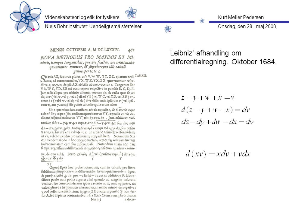 Leibniz' afhandling om differentialregning. Oktober 1684.