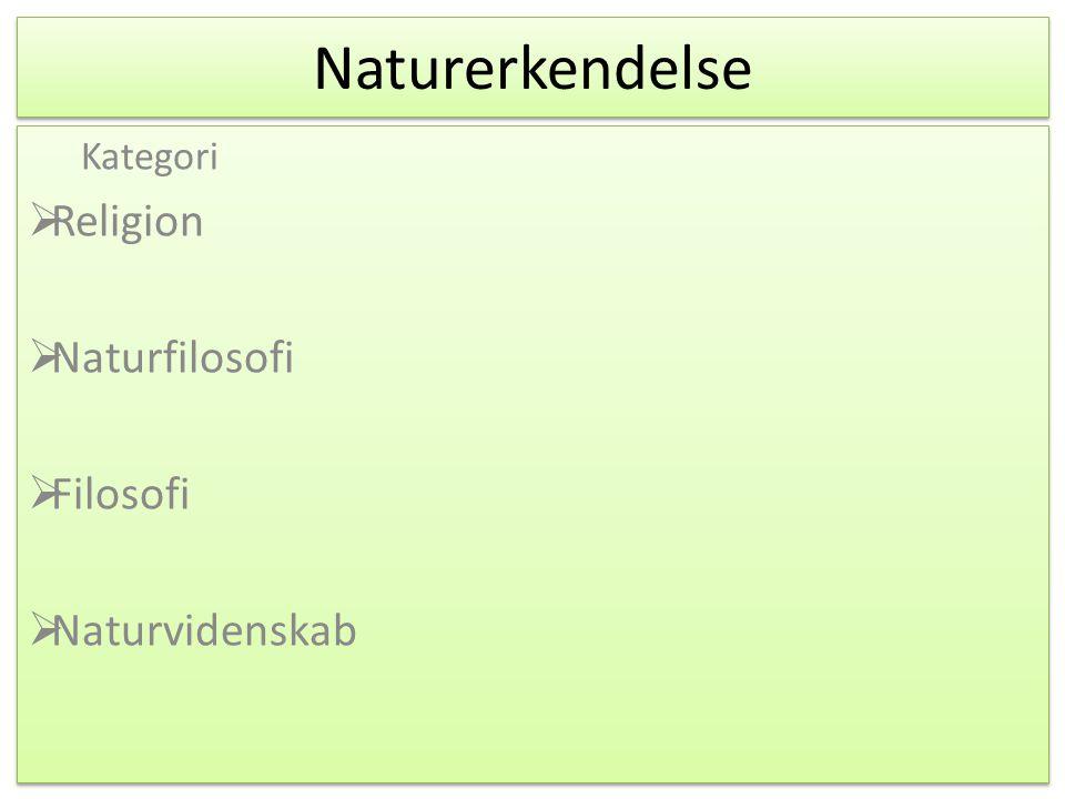 Kategori Religion Naturfilosofi Filosofi Naturvidenskab