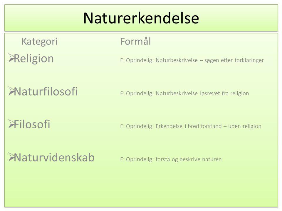 Naturerkendelse Kategori Formål. Religion F: Oprindelig: Naturbeskrivelse – søgen efter forklaringer.