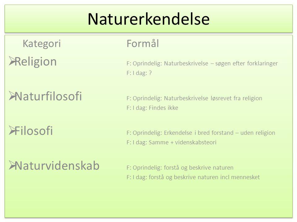 Naturerkendelse Kategori Formål. Religion F: Oprindelig: Naturbeskrivelse – søgen efter forklaringer F: I dag: