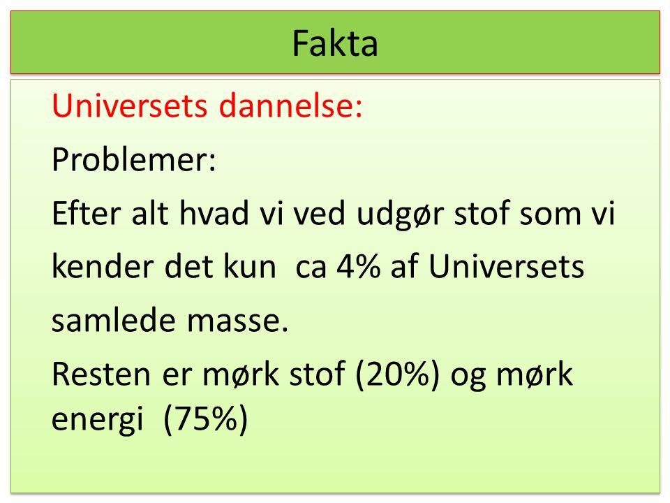 Fakta Universets dannelse: Problemer: