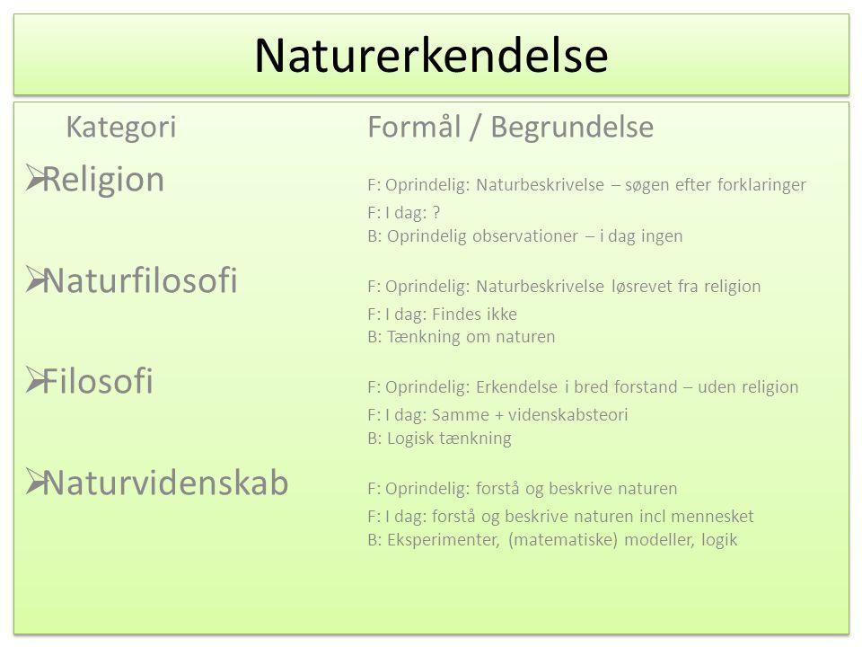Naturerkendelse Kategori Formål / Begrundelse.