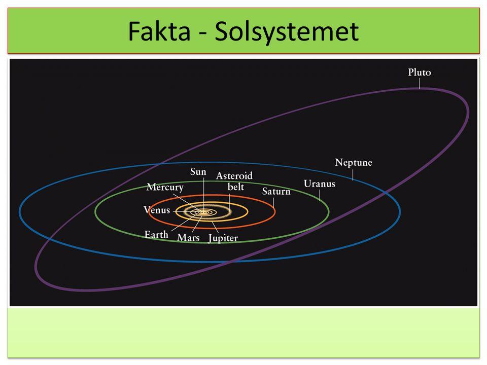 Fakta - Solsystemet Før vi går i gang med den naturvidenskabelig tænknings udvikling, skal vi lige have nogle ting på plads, så der nogle fakta.