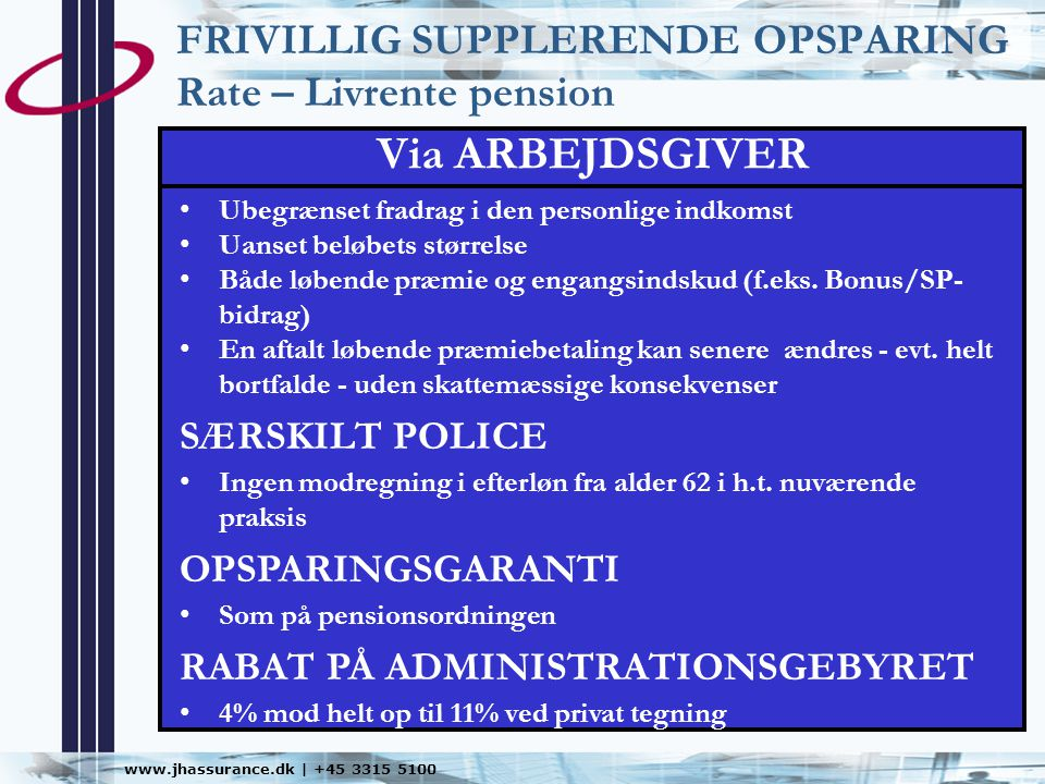 FRIVILLIG SUPPLERENDE OPSPARING Rate – Livrente pension