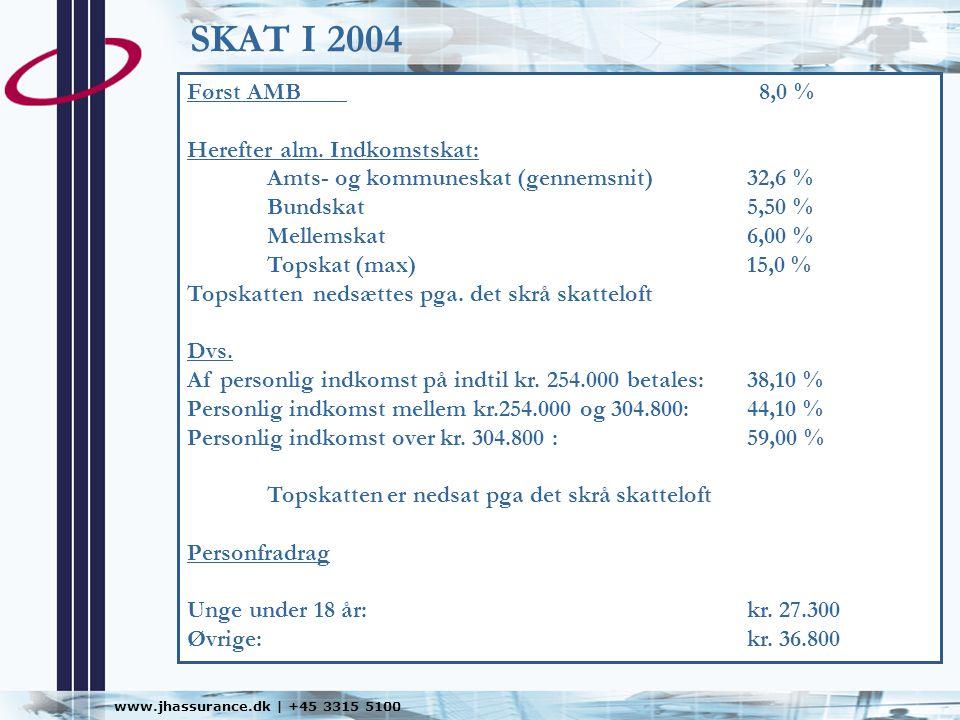 SKAT I 2004 Først AMB 8,0 % Herefter alm. Indkomstskat:
