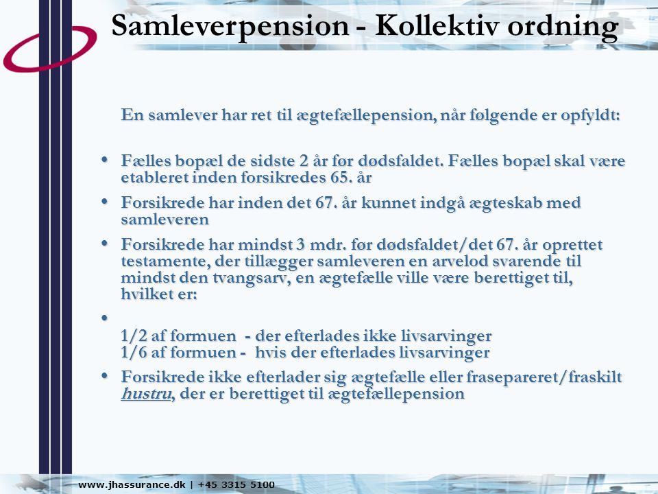 Samleverpension - Kollektiv ordning
