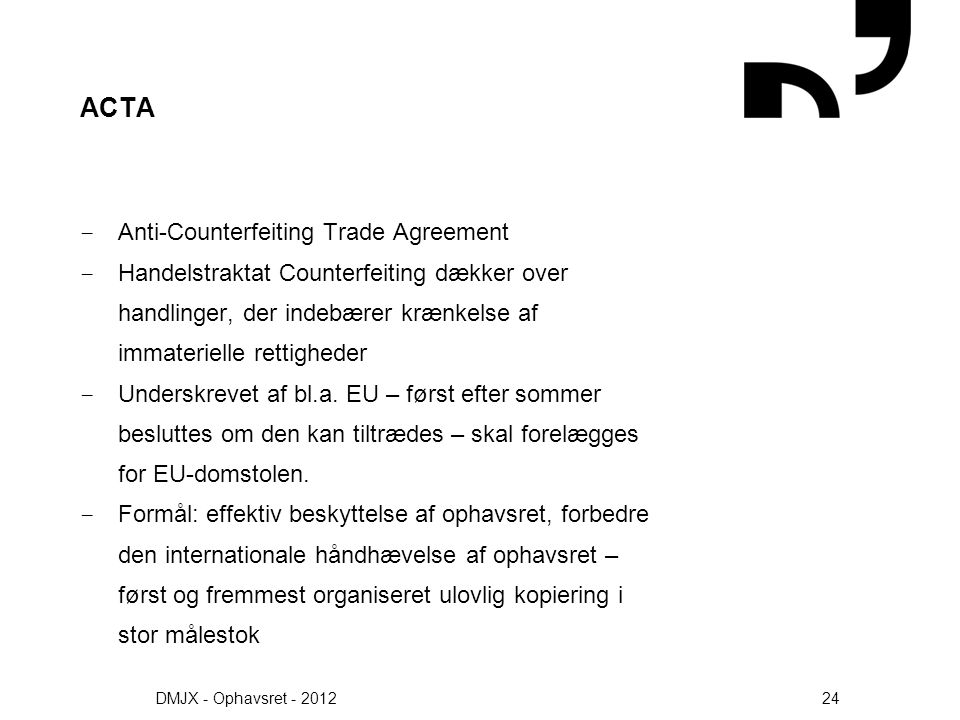 ACTA Anti-Counterfeiting Trade Agreement