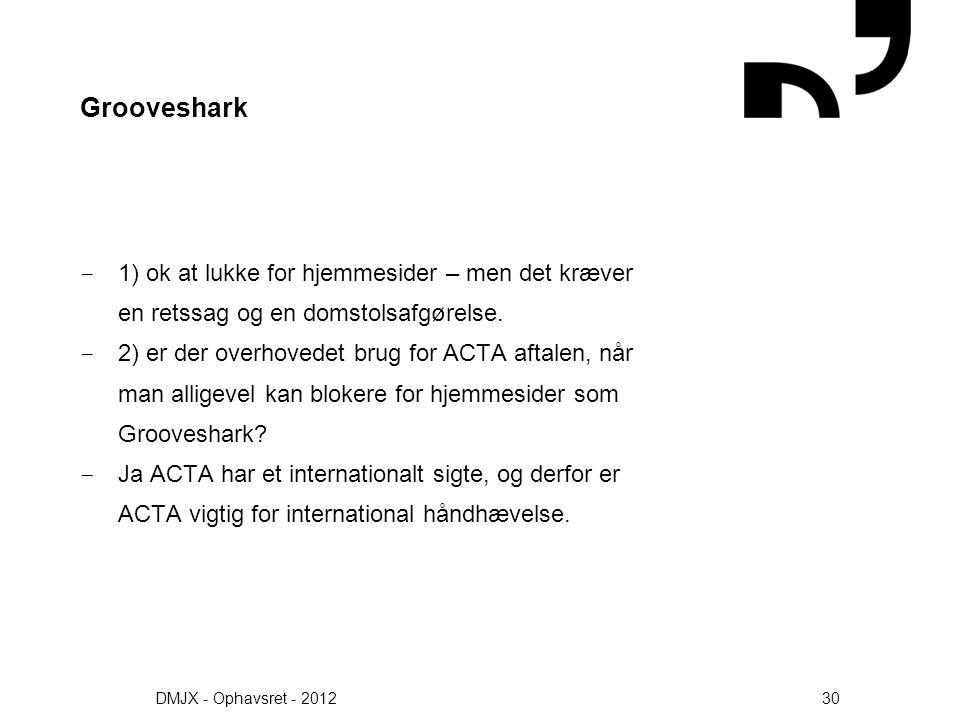 Grooveshark 1) ok at lukke for hjemmesider – men det kræver en retssag og en domstolsafgørelse.