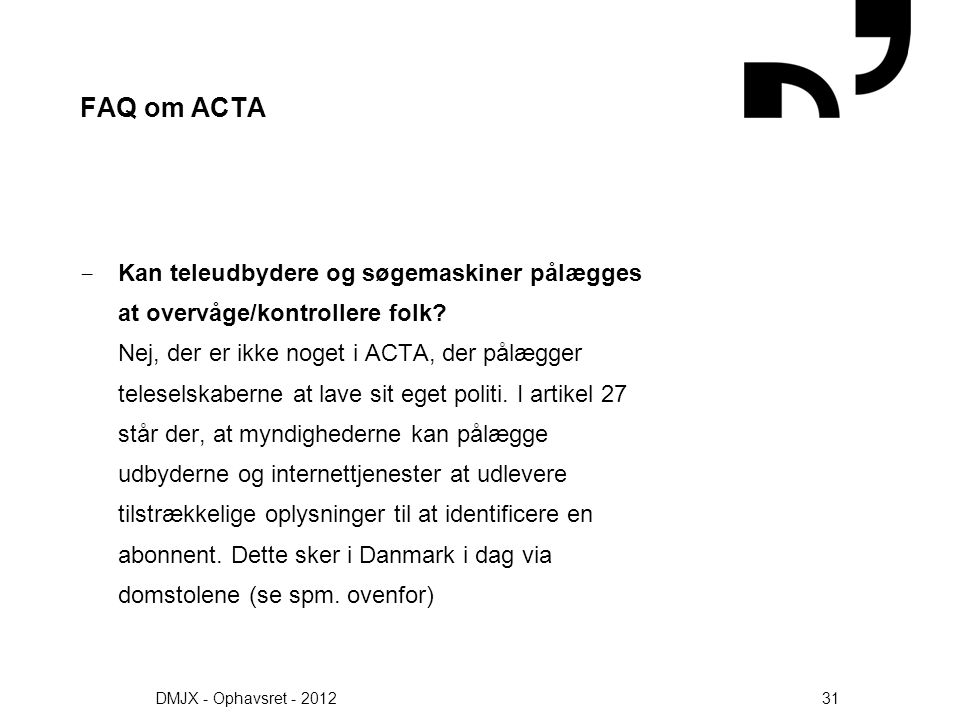 FAQ om ACTA