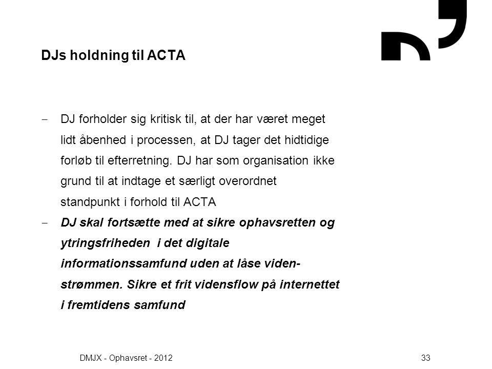 DJs holdning til ACTA