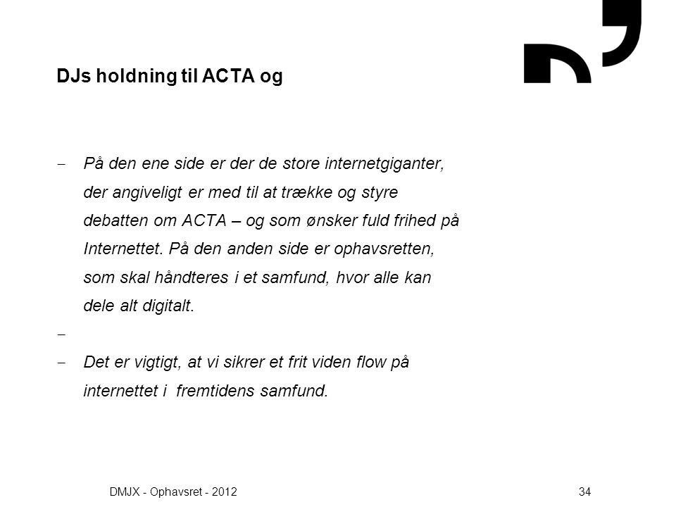 DJs holdning til ACTA og