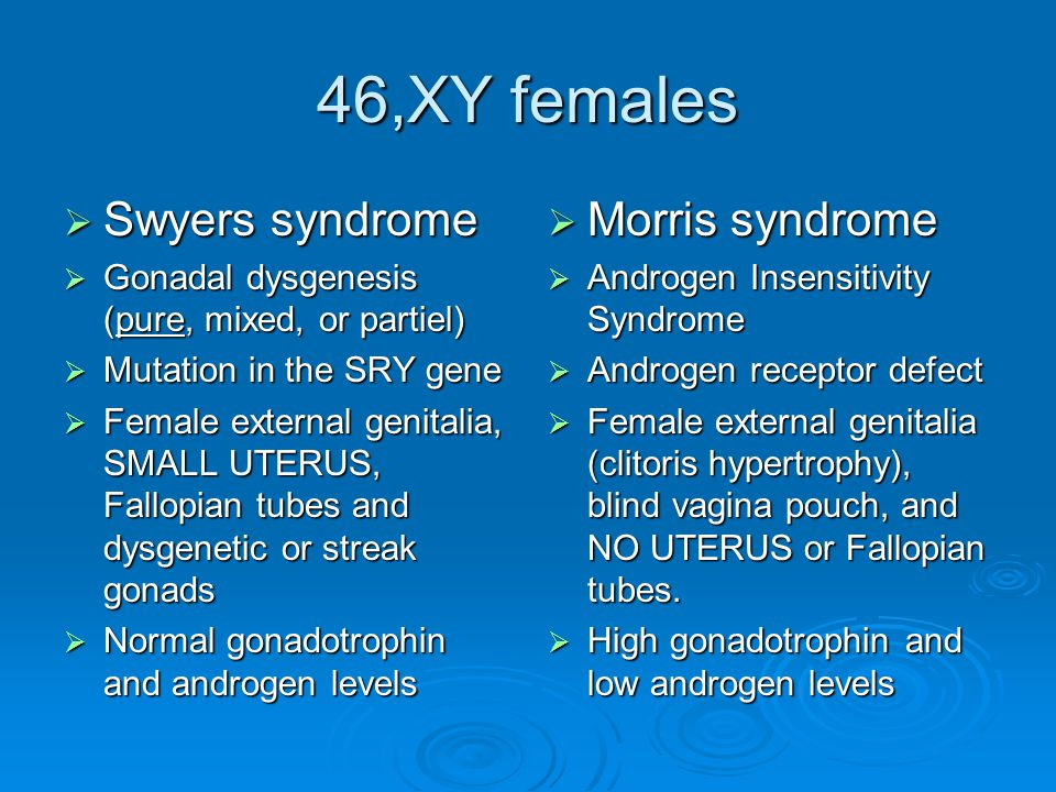 46,XY females Swyers syndrome Morris syndrome