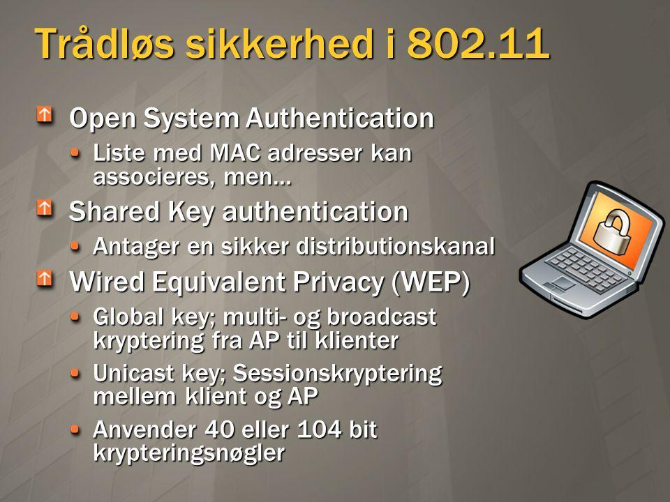 Trådløs sikkerhed i 802.11 Open System Authentication