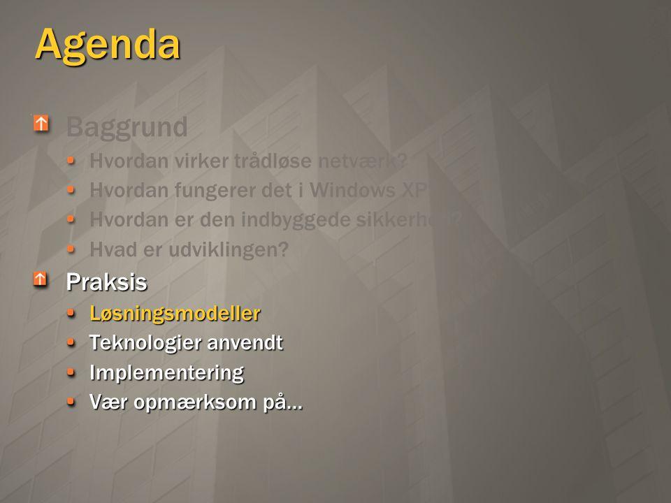 Agenda Baggrund Praksis Hvordan virker trådløse netværk