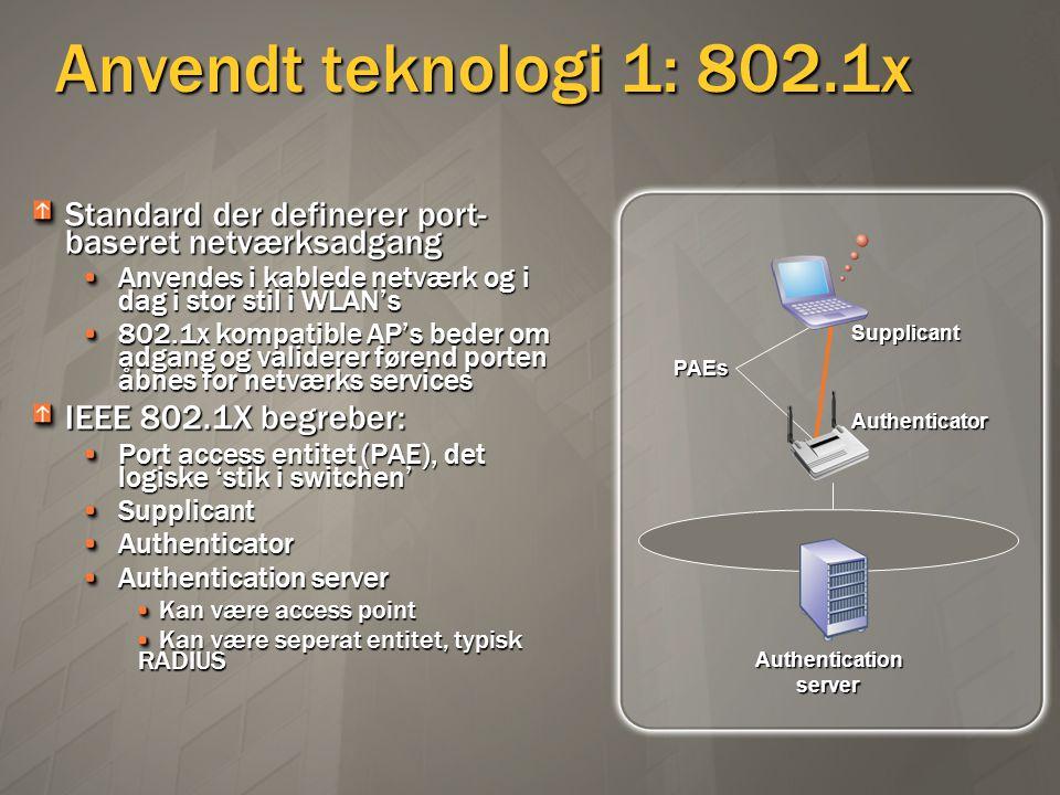 Anvendt teknologi 1: 802.1x Standard der definerer port-baseret netværksadgang. Anvendes i kablede netværk og i dag i stor stil i WLAN's.