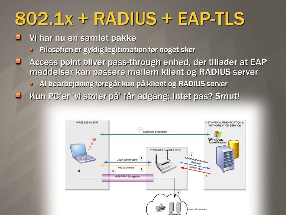 802.1x + RADIUS + EAP-TLS Vi har nu en samlet pakke