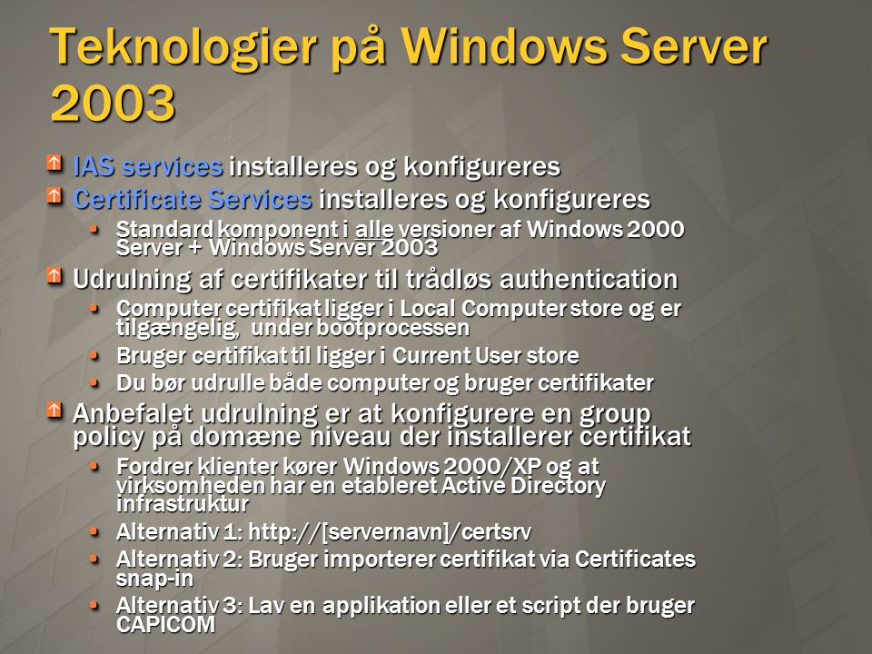 Teknologier på Windows Server 2003