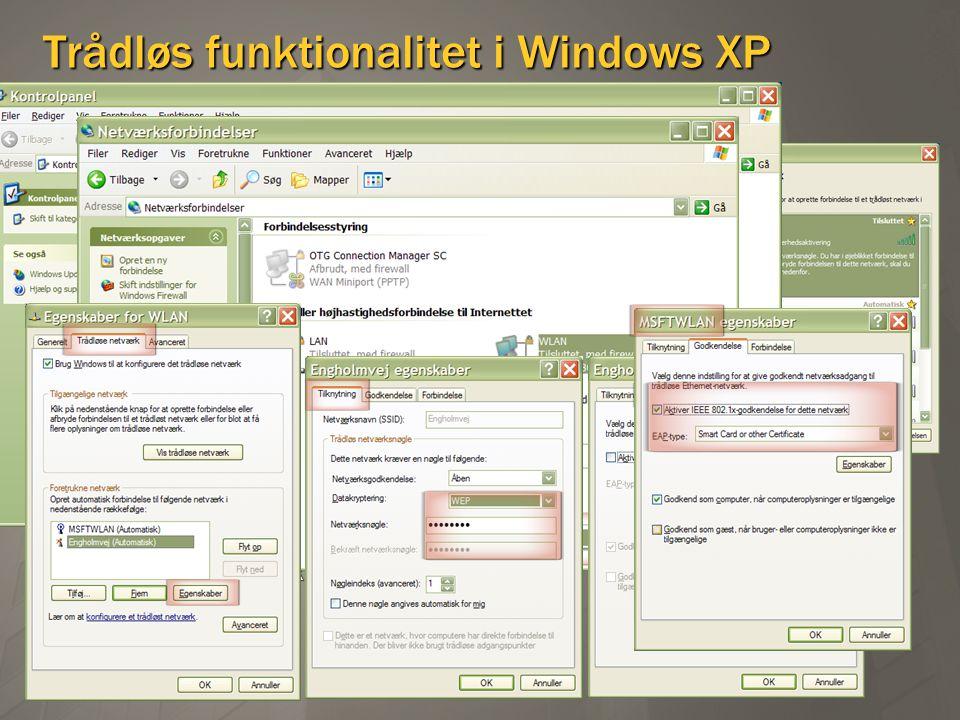 Trådløs funktionalitet i Windows XP