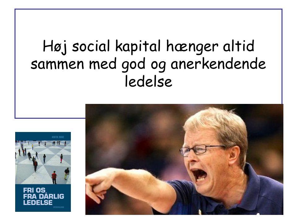 Høj social kapital hænger altid sammen med god og anerkendende ledelse
