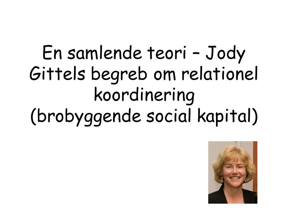 En samlende teori – Jody Gittels begreb om relationel koordinering (brobyggende social kapital)