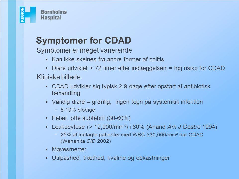 Symptomer for CDAD Symptomer er meget varierende Kliniske billede