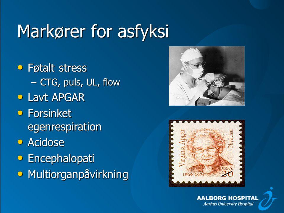 Markører for asfyksi Føtalt stress Lavt APGAR