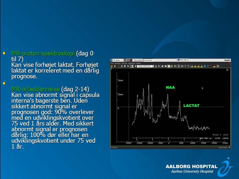 MR-proton-spektroskopi (dag 0 til 7) Kan vise forhøjet laktat