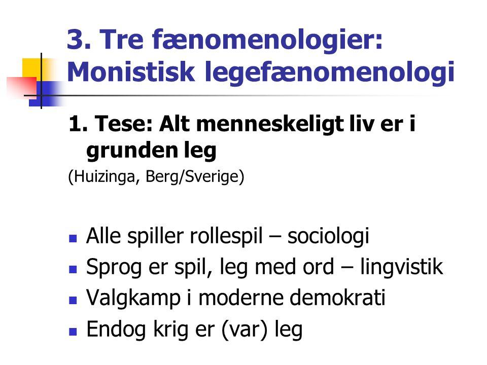 3. Tre fænomenologier: Monistisk legefænomenologi