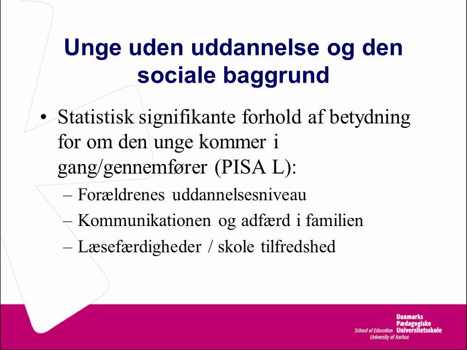 Unge uden uddannelse og den sociale baggrund