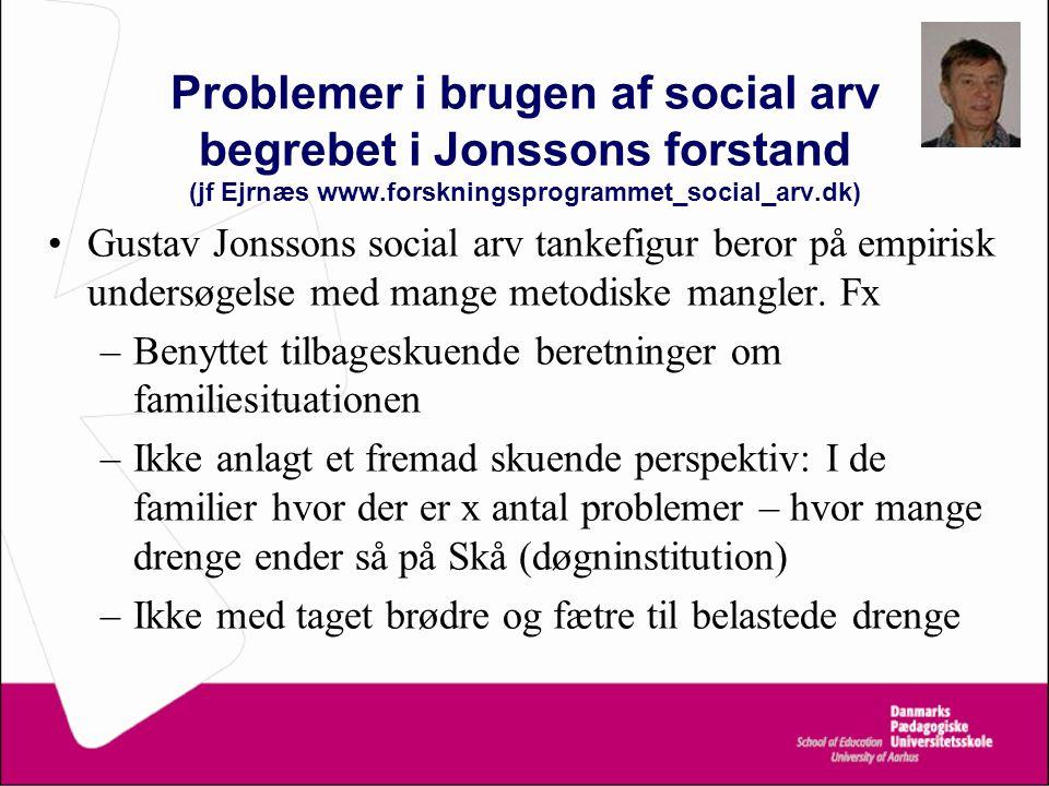 Problemer i brugen af social arv begrebet i Jonssons forstand (jf Ejrnæs www.forskningsprogrammet_social_arv.dk)