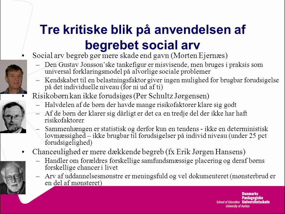 Tre kritiske blik på anvendelsen af begrebet social arv