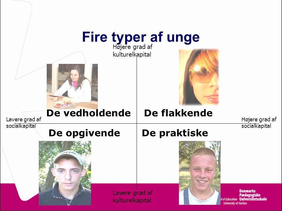 Fire typer af unge De vedholdende De flakkende De opgivende