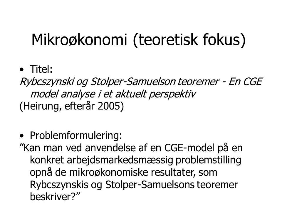 Mikroøkonomi (teoretisk fokus)