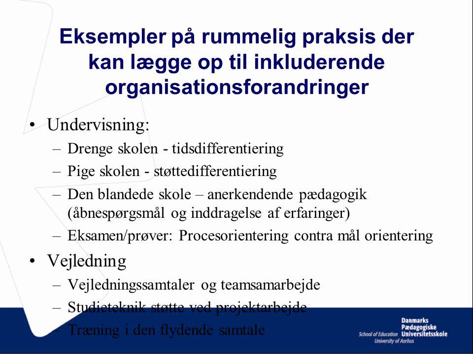 Eksempler på rummelig praksis der kan lægge op til inkluderende organisationsforandringer