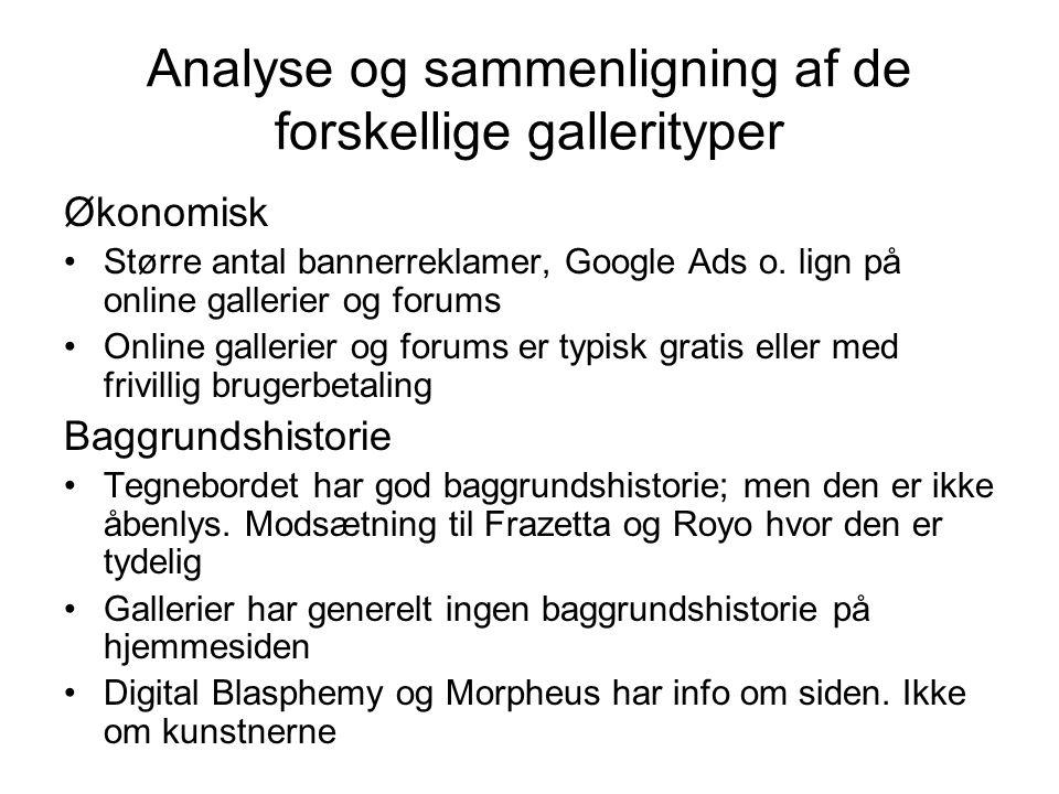 Analyse og sammenligning af de forskellige gallerityper