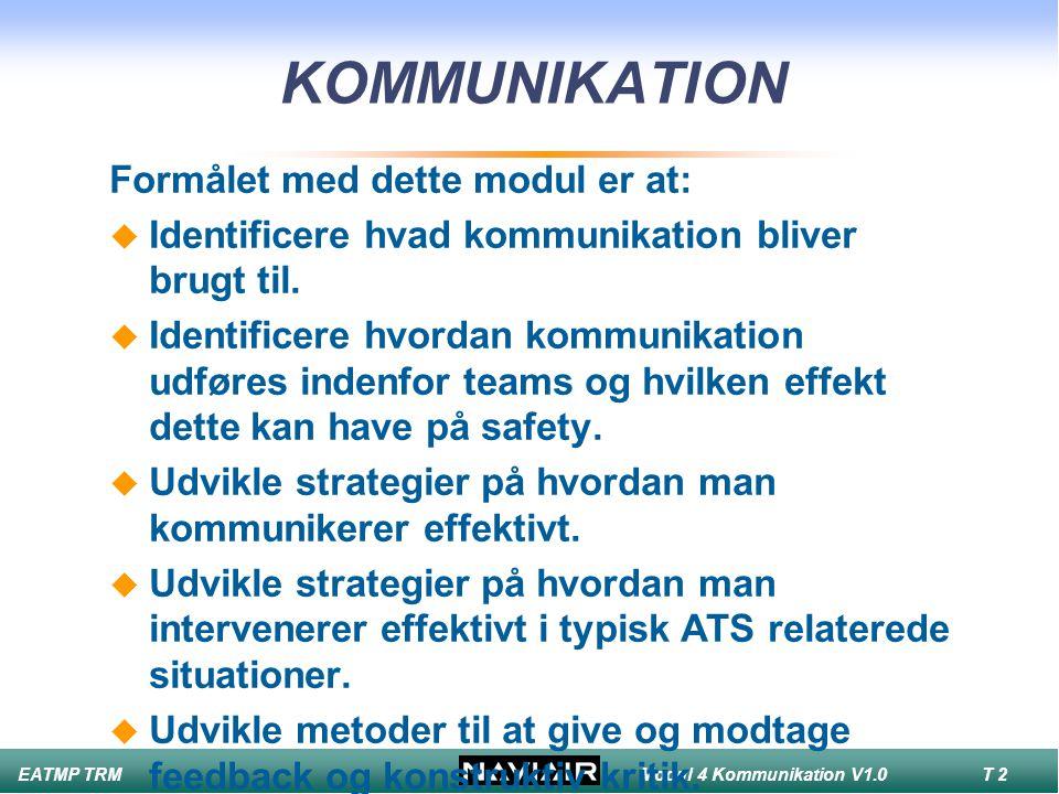 KOMMUNIKATION Formålet med dette modul er at: