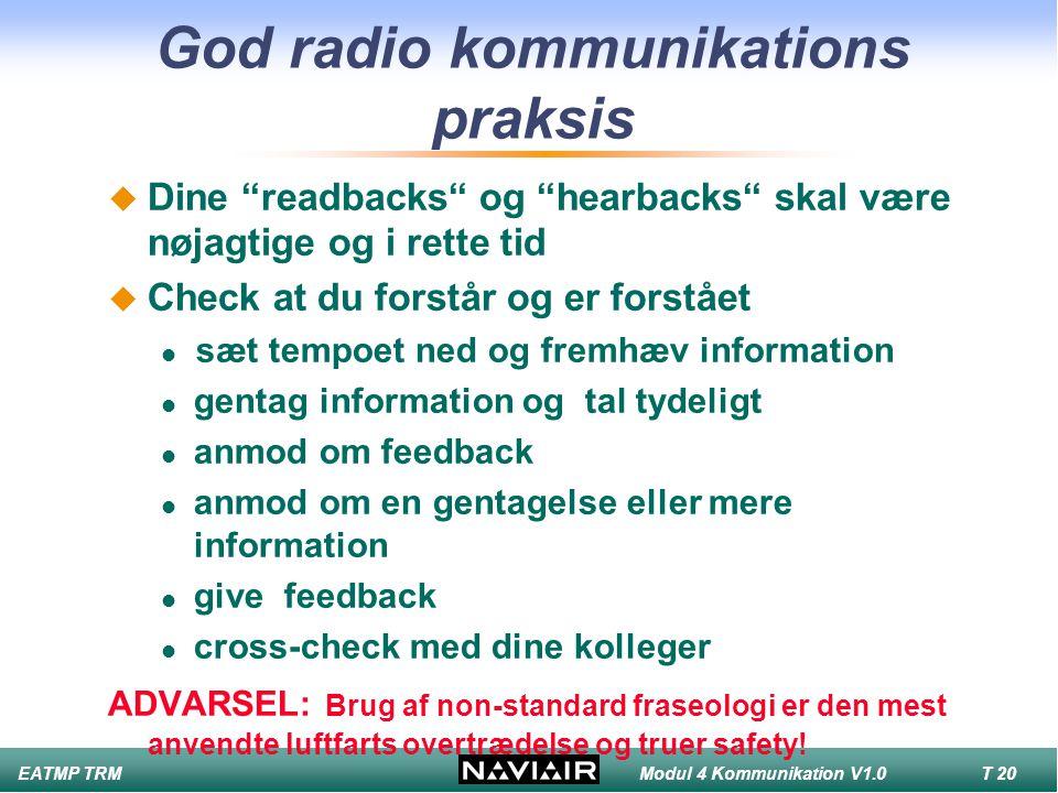 God radio kommunikations praksis