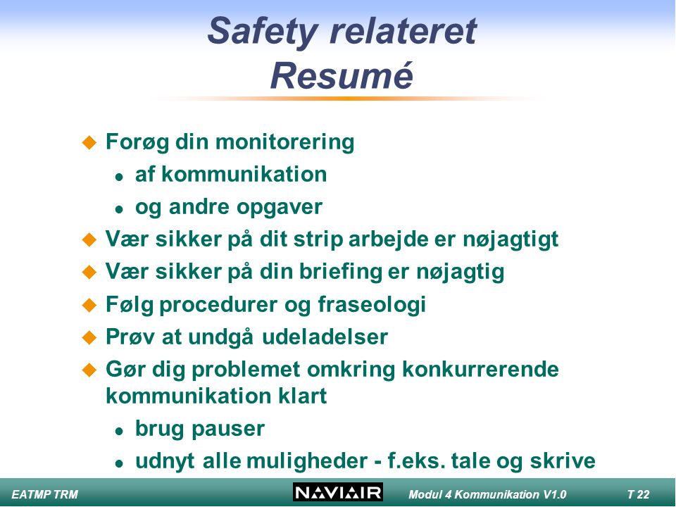 Safety relateret Resumé