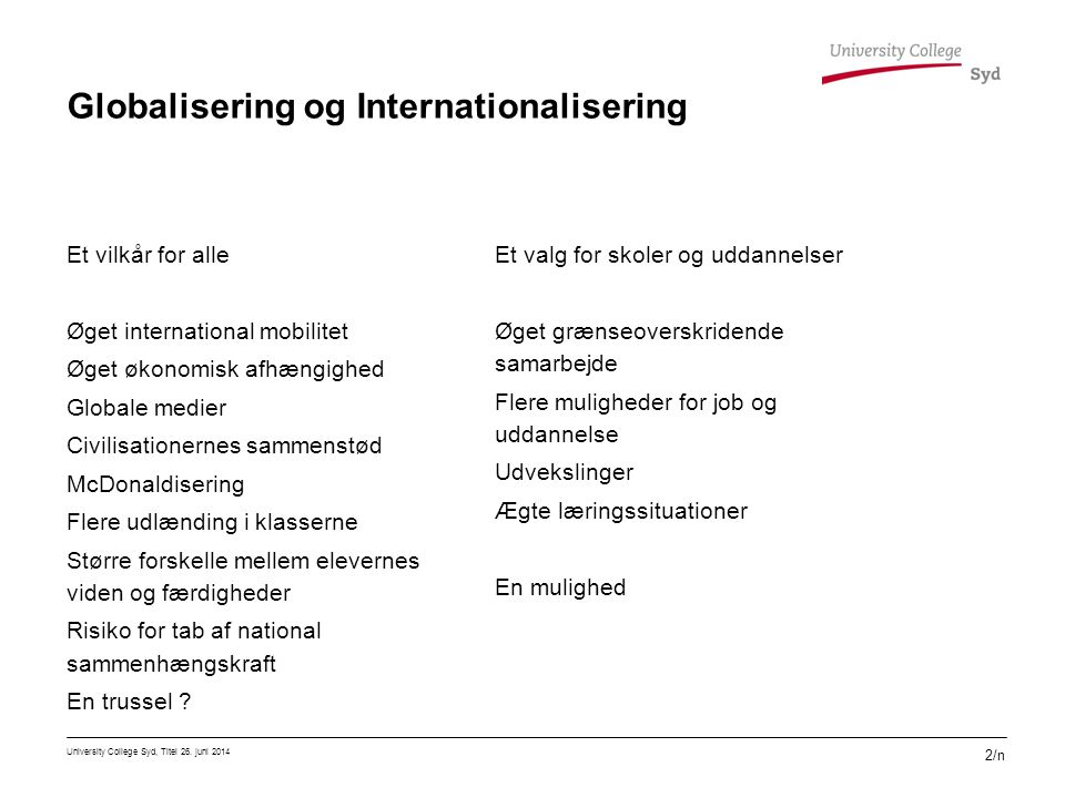 Globalisering og Internationalisering