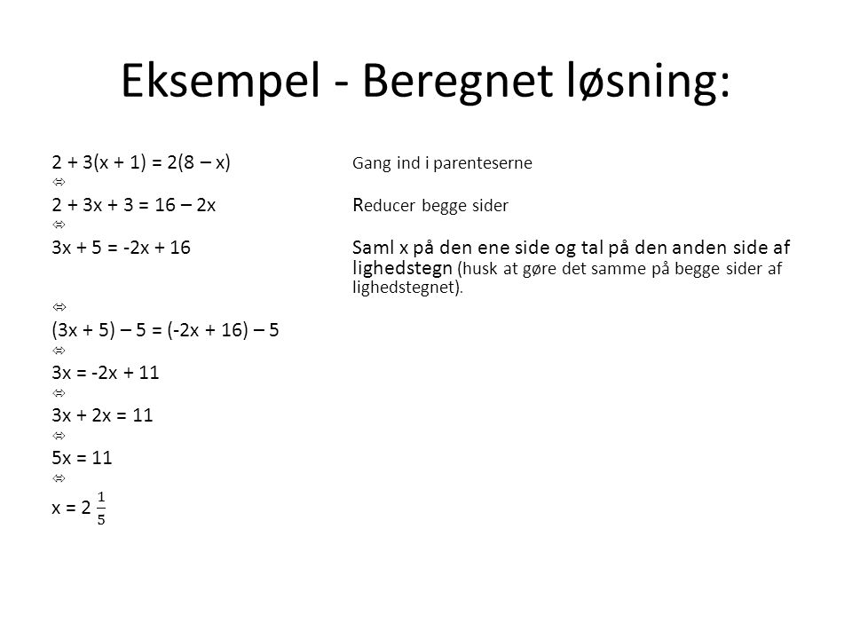 Eksempel - Beregnet løsning: