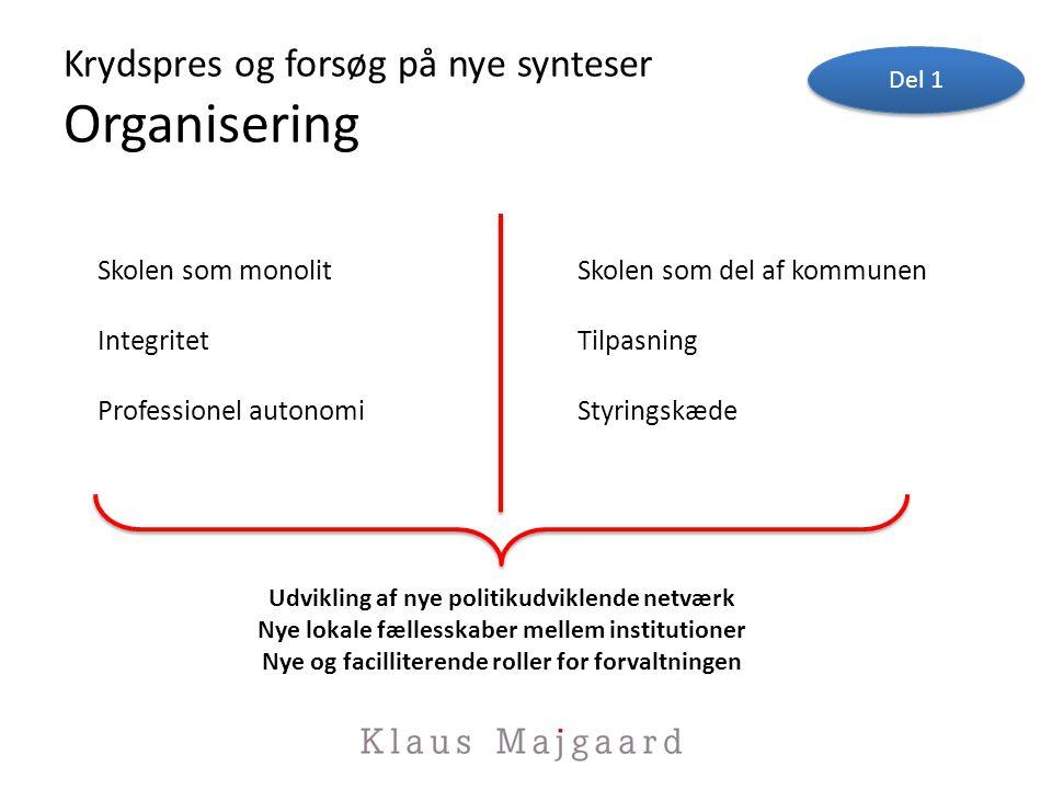 Krydspres og forsøg på nye synteser Organisering