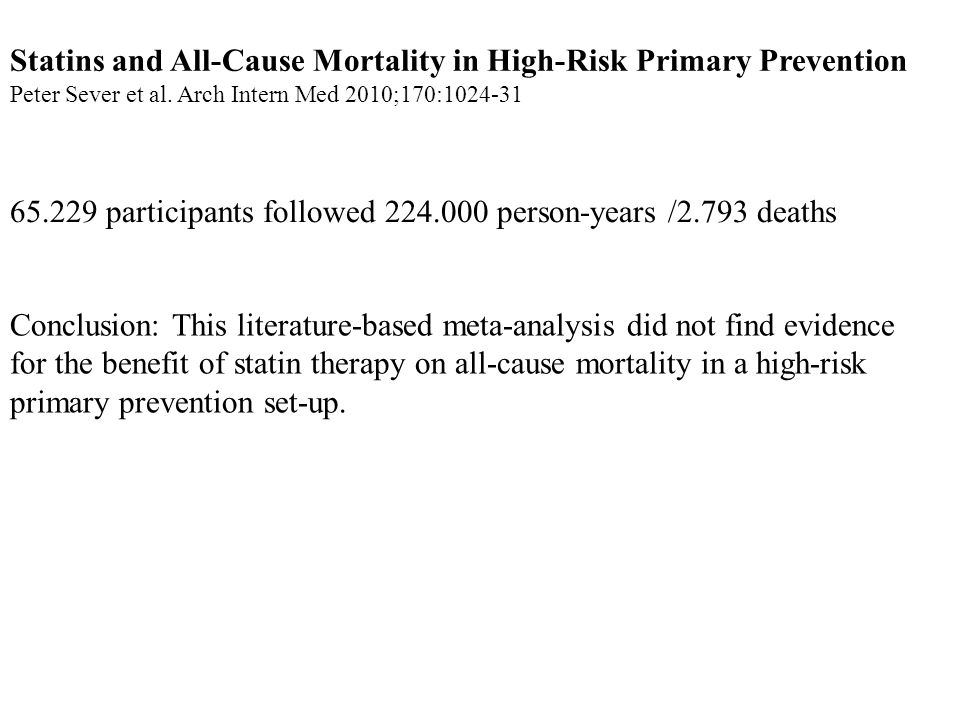 Statins and All-Cause Mortality in High-Risk Primary Prevention