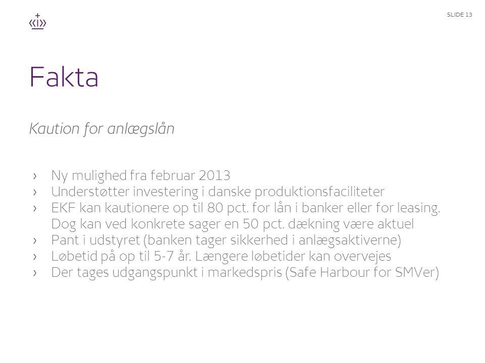 Fakta Kaution for anlægslån Ny mulighed fra februar 2013