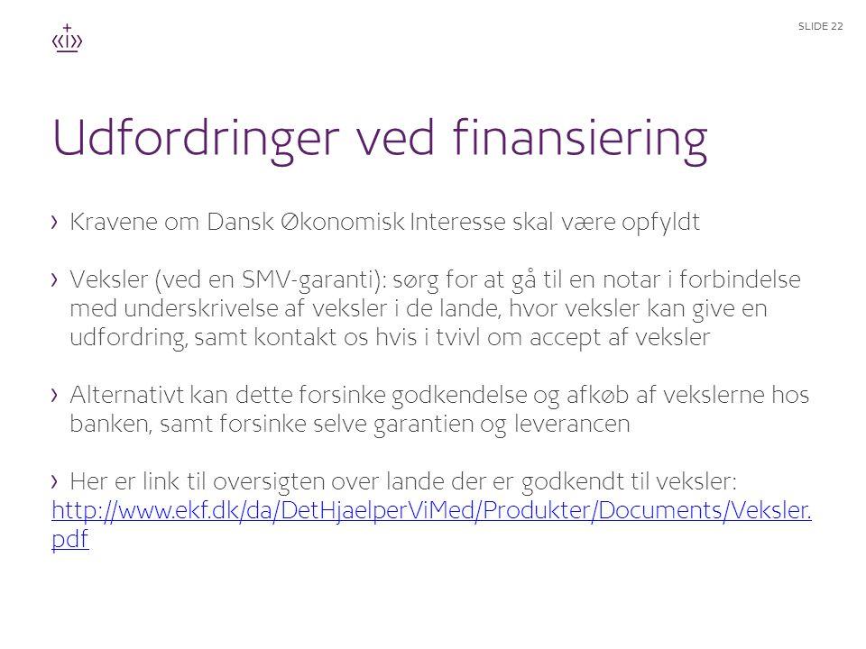 Udfordringer ved finansiering