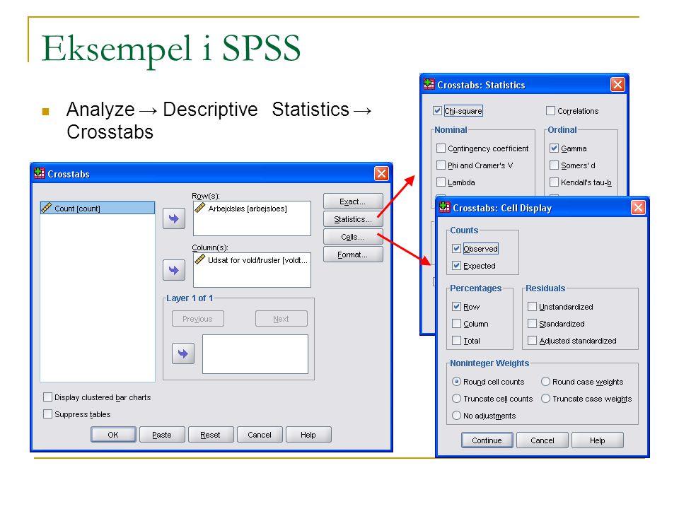 Eksempel i SPSS Analyze → Descriptive Statistics → Crosstabs