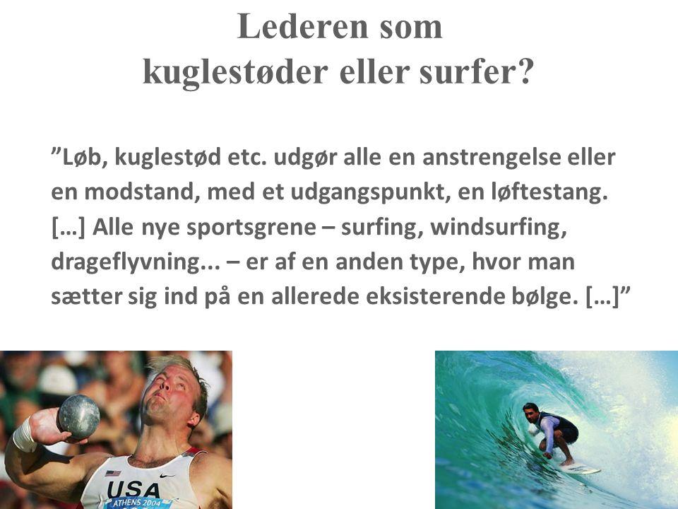 Lederen som kuglestøder eller surfer