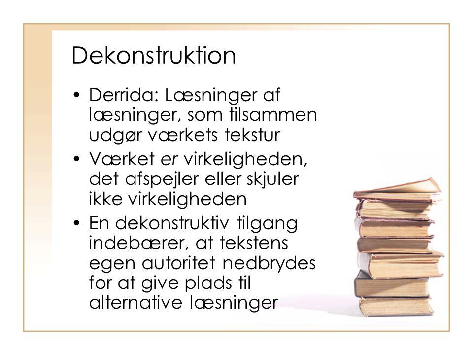 Dekonstruktion Derrida: Læsninger af læsninger, som tilsammen udgør værkets tekstur.