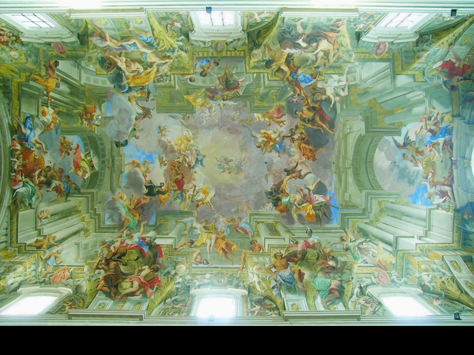 Pozzo: Den hellige Ignatius af Loyolas triumf og apoteose, loftsmaleri, Chiesa di Sant Ignazio di Loyola in Campo Marzio, ca.