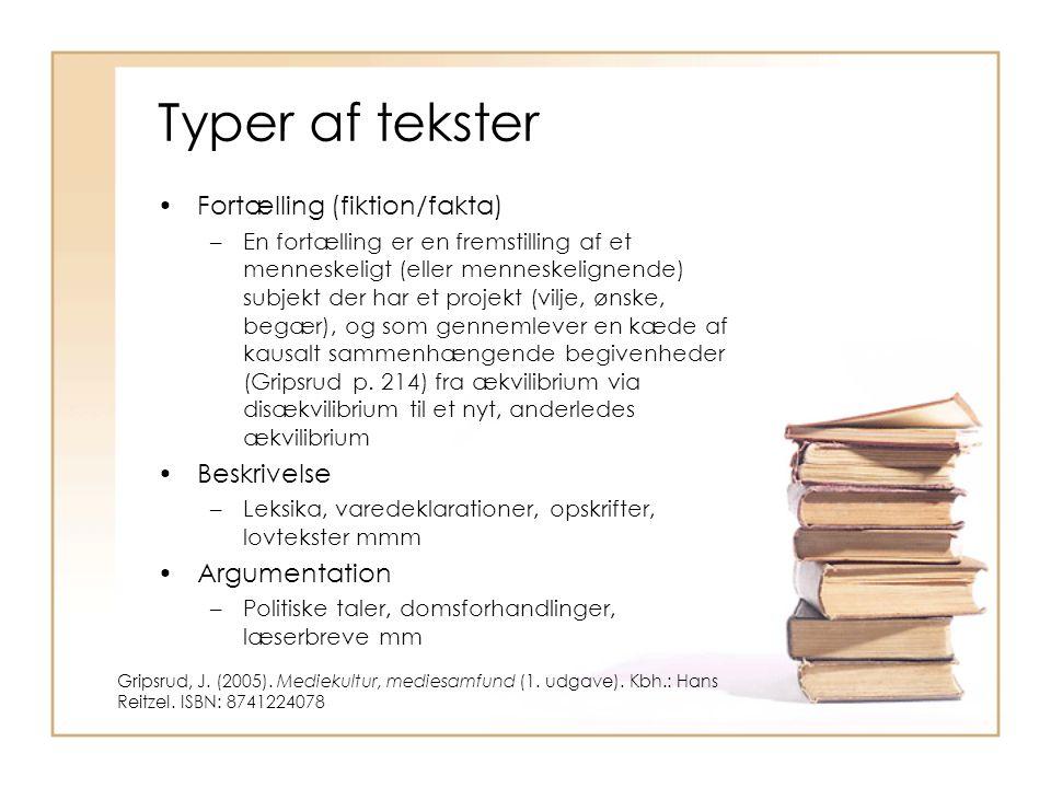 Typer af tekster Fortælling (fiktion/fakta) Beskrivelse Argumentation