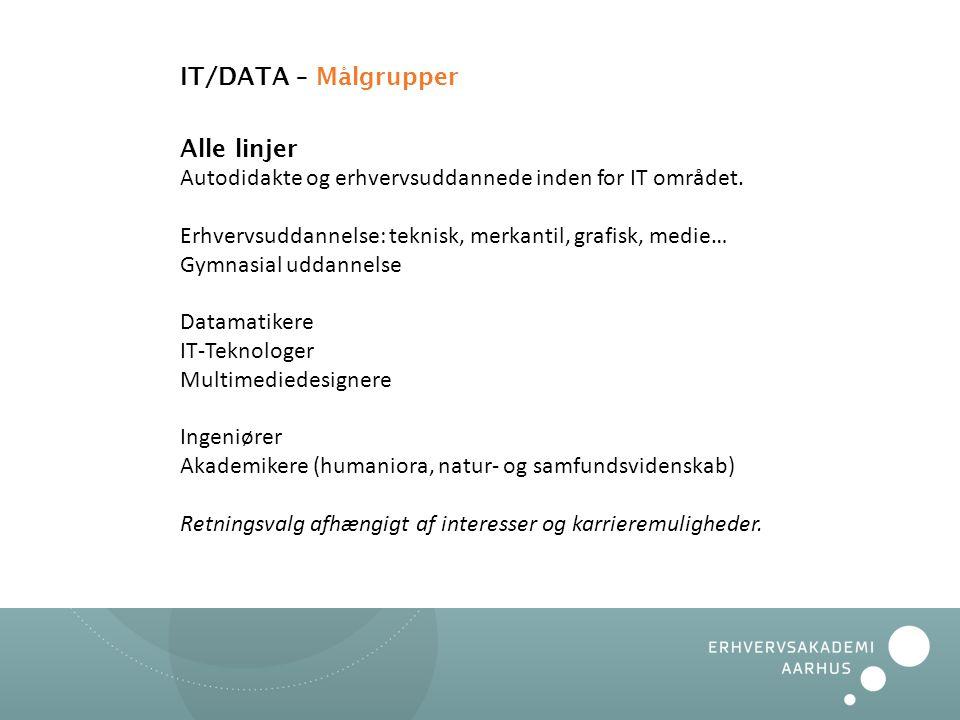 IT/DATA – Målgrupper Alle linjer Autodidakte og erhvervsuddannede inden for IT området. Erhvervsuddannelse: teknisk, merkantil, grafisk, medie…